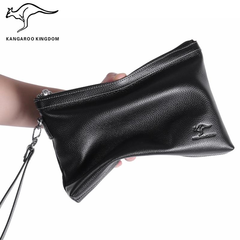 KANGAROO KINGDOM fashion genuine leather bag men handbag business male clutch bags envelope hand bag цена