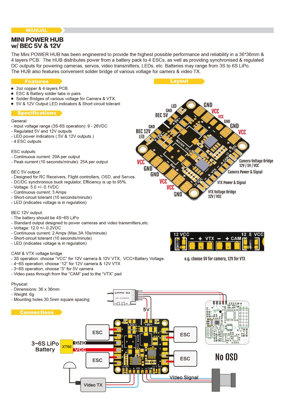 Мини блок питания распределительная плата PDB с BEC 5 V& 12 V для FPV QAV250 ZMR250 Мультикоптер Квадрокоптер
