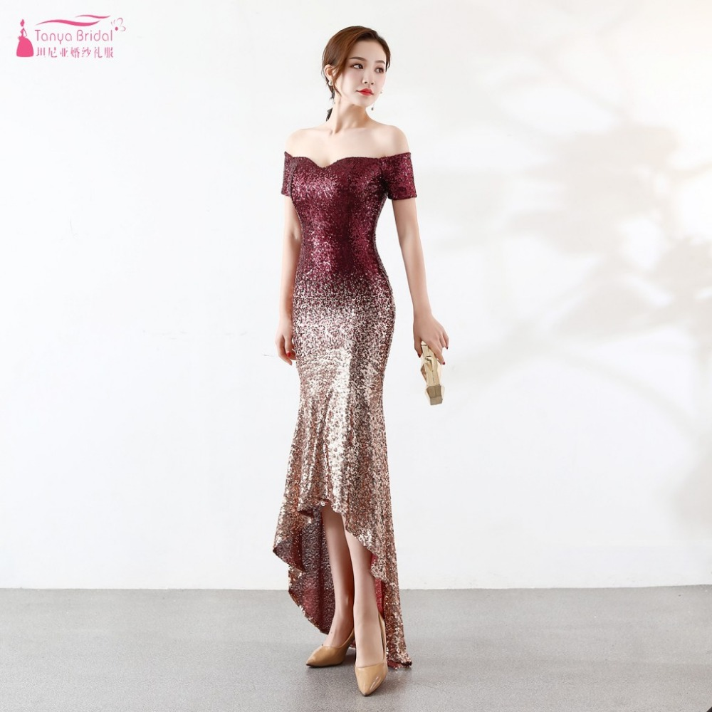 Contrast Color Sequined   Bridesmaid     Dress   Mermaid High-Low Elegant Fashion Maid Of Honor Gowns Formal Night wear Vestido ZB093