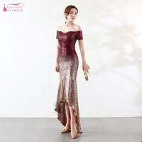Contrast Color Sequined Bridesmaid Dress Mermaid High Low Elegant Fashion Maid Of Honor Gowns Formal Night wear Vestido ZB093