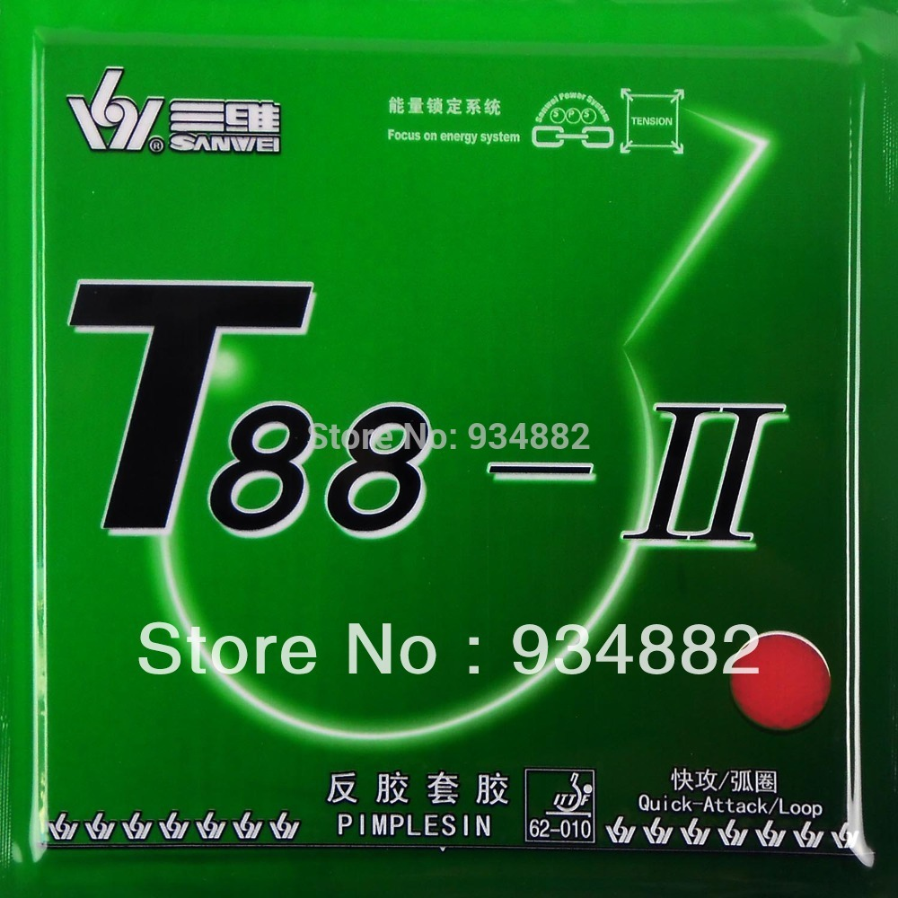 Sanwei T88-II (T88 2, T88-2, T88 II) Pips-In Table Tennis (PingPong) Rubber With Sponge