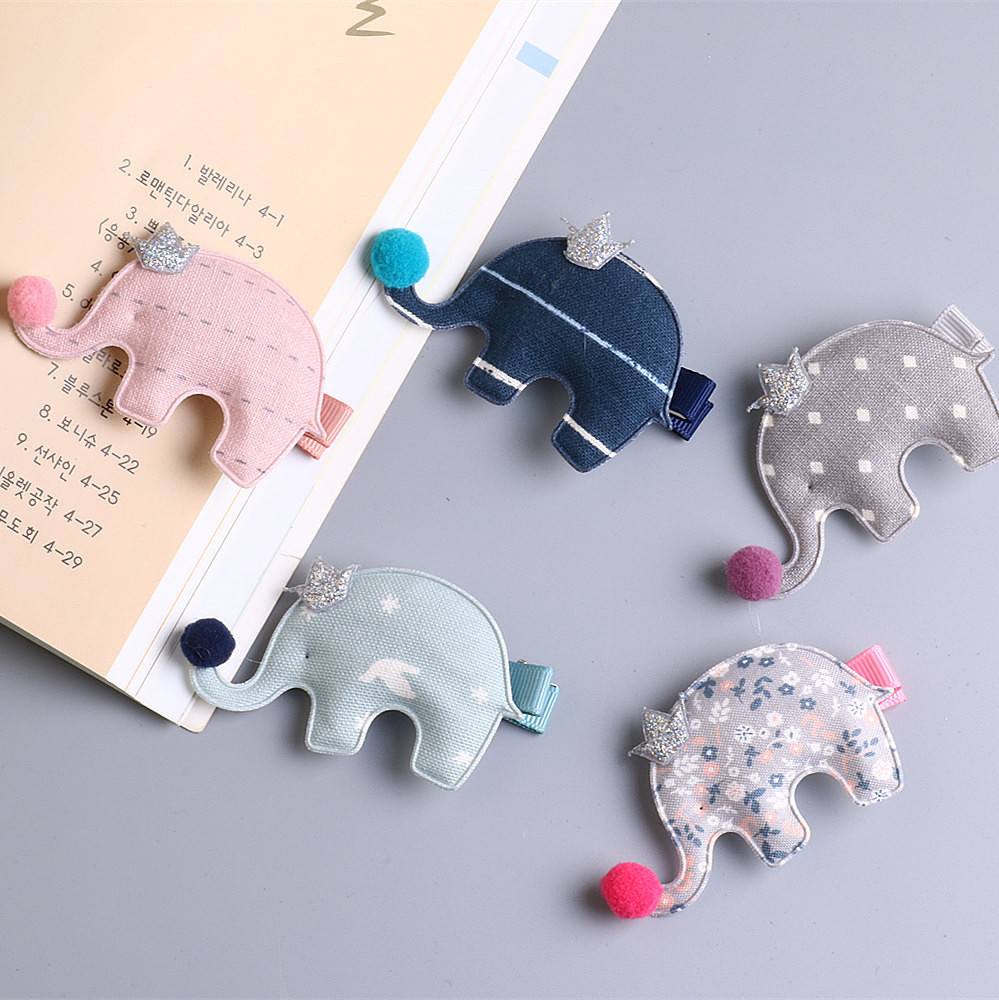 New Cute Cartoon Cloth Ball Crown Elephant Girls Hair Clips Kids Hairpins Barrettes Children Hair Accessories 4pcs new for ball uff bes m18mg noc80b s04g
