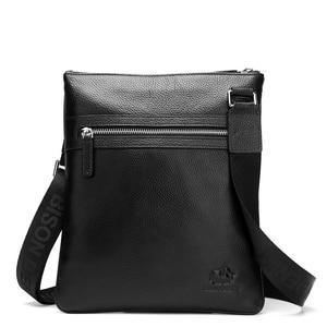 Image 2 - BISON DENIM Brand Genuine Leather Crossbody Bag Men Slim Male Shoulder Bag Business Travel iPad Bag Men Messenger Bags N2424