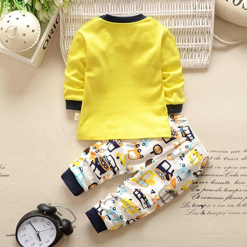 תינוק בני בגדי 2pcs יילוד תינוק בנות Cartoon בגדי סתיו חורף קריקטורה כותנה חולצה תינוק ילד בגדי סט ארוך -שרוולים