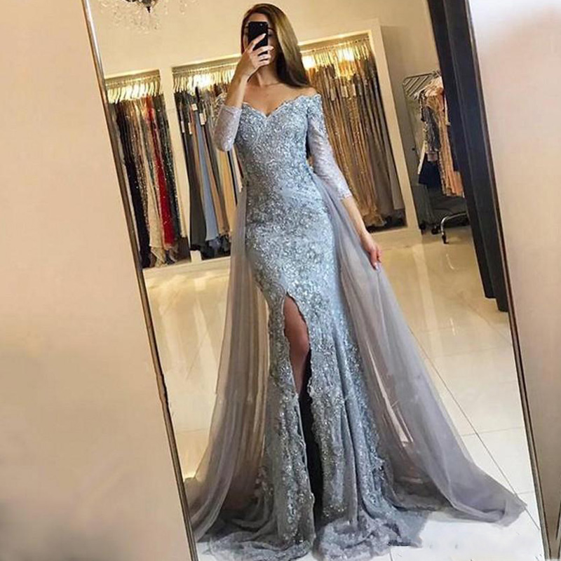 Vintage Evening Gown Full Sleeve <font><b>2018</b></font> Robe <font><b>De</b></font> Soiree Mermaid Evening <font><b>Dresses</b></font> <font><b>Vestido</b></font> <font><b>De</b></font> <font><b>Festa</b></font> <font><b>Sexy</b></font> Long Evening Gowns image