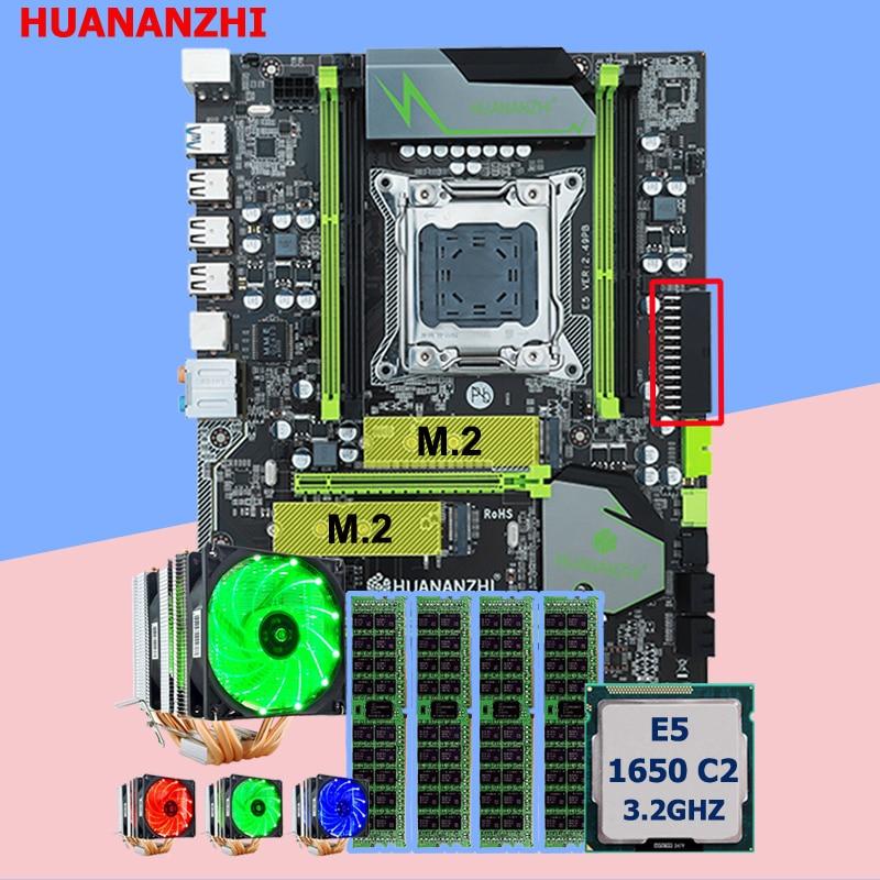 Marca Motherboard com DUAL slot M.2 HUANANZHI E5 1650 C2 X79 Pro motherboard com CPU Xeon 3.2 GHz 6 tubos refrigerador RAM 32G (4*8G)