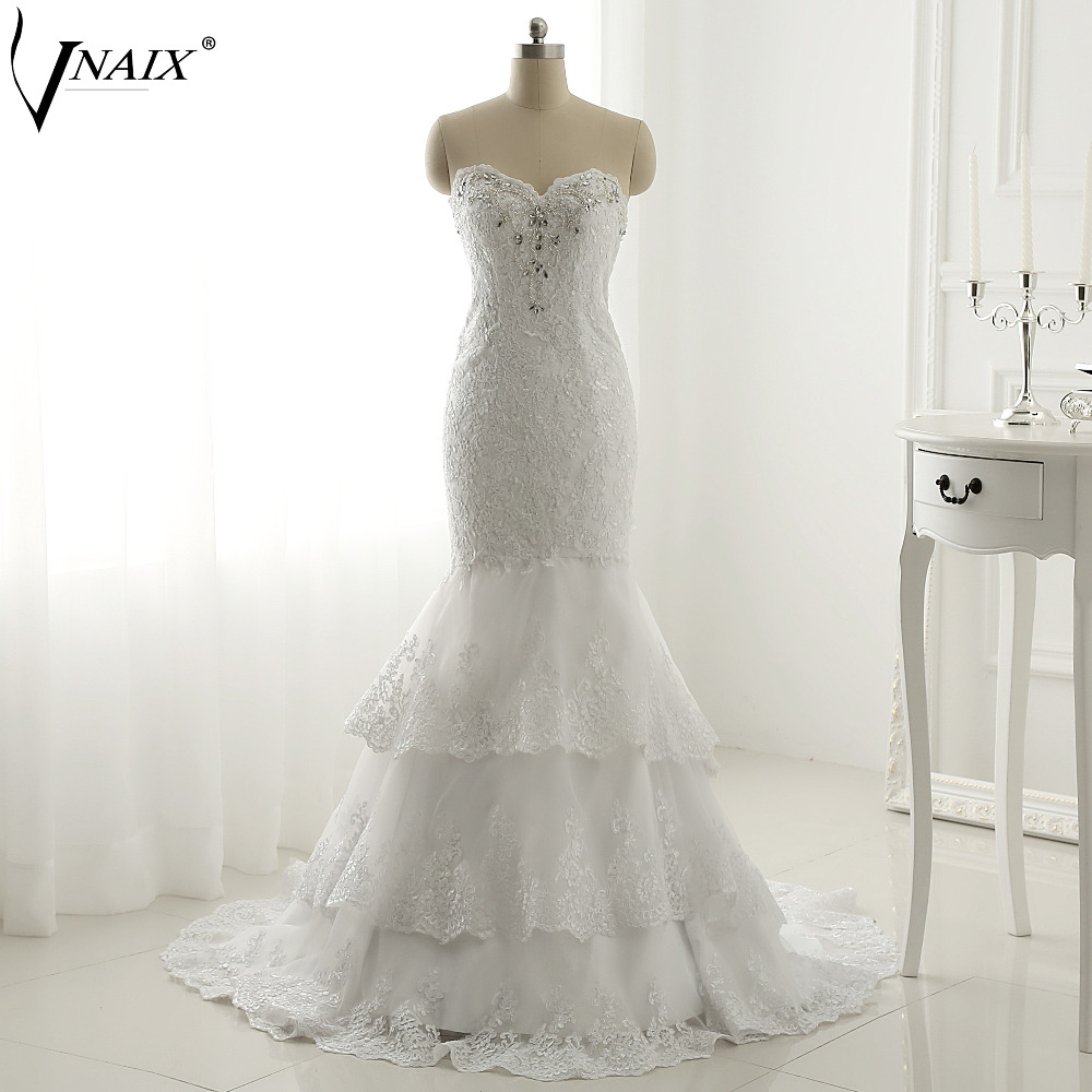 Vnaix W1334 Mermaid Wedding Dress Lace Up back with tiered Skirt Sexy Bridal Gown for women