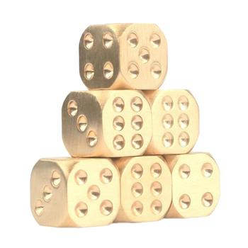 Metal Solid Brass Dice Toy Club Bar Holiday Party Entertainment Game Accessories solid polished brass dice 20mm metal cube copper poker bar board game gift 1pc