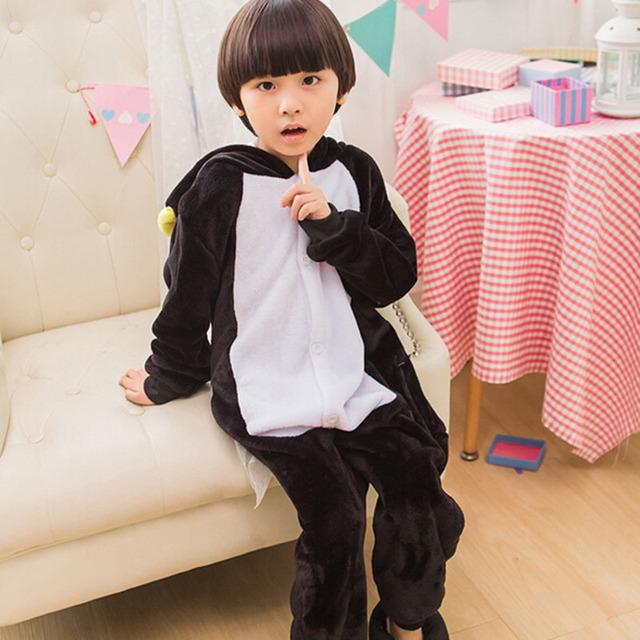 Kids Animal Onesie Penguin Pajama Black Flannel Long Sleeve With Hooded Sleepwear Winter Warm Soft Children Boy Girl Party Suit