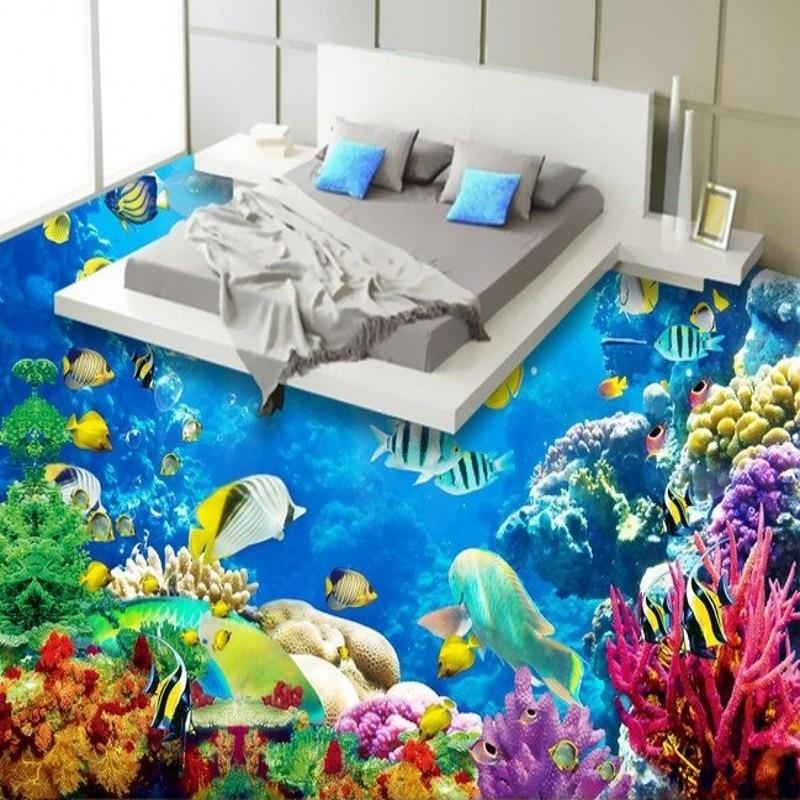 Beibehang papier de parede personnalisé éblouir beau fond de mer monde PVC thème hôtel chambre salle de bains plancher papier peint mural
