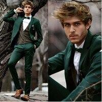 The latest wedding men's suit dark green men's Slim version of 2 groom tuxedo single breasted men's suit smoking suit men's suit