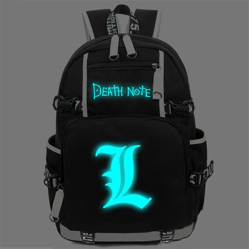 New Anime Death Note Laptop Backpack Bags Large Oxford Luminous Printing Shoulder Bag Unisex Travel School Bag BookBag anime game zelda link school backpack for boy girls bags cartoon student bookbag unisex color shoulder laptop travel bags