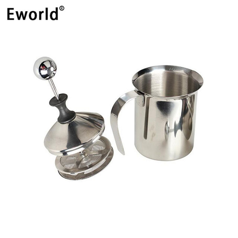 Eworld ASLT High Quality Stainless Steel Pump Milk Frother Creamer Foam Cappuccino 400ML Coffee Double Mesh