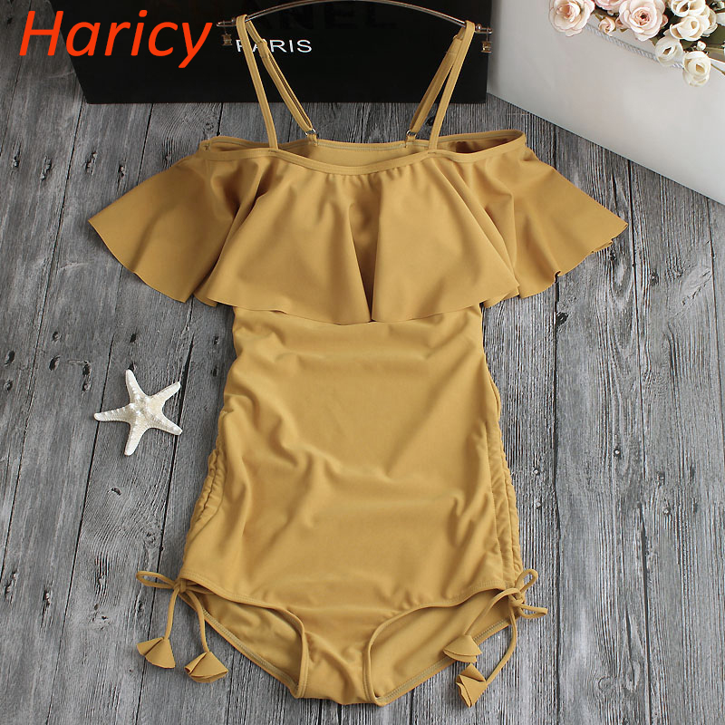 2018 New Sexy Off The Shoulder Solid Swimwear Women One Piece Swimsuit Female Bandage Bathing Suit Ruffle Monokini Swim Wear one piece swimsuits trikinis high cut thong swimsuit sexy strappy monokini swim suits high quality denim women s sports swimwear