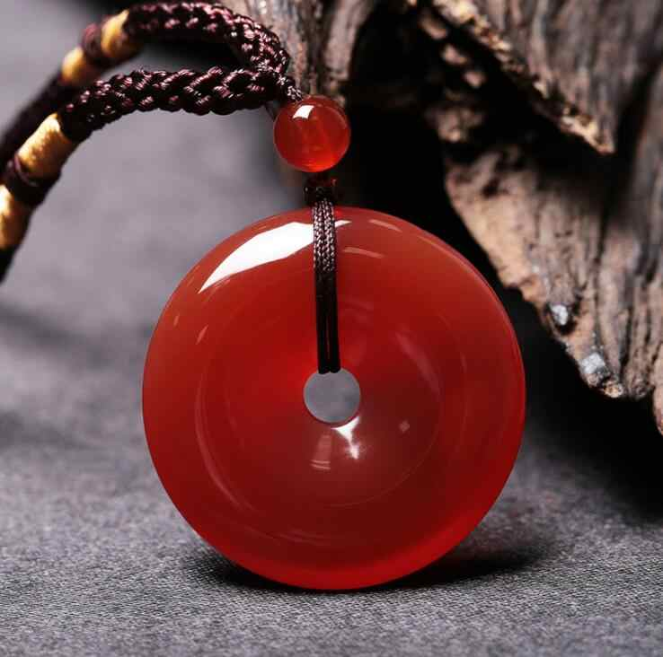 3x2.8cm Natural Ice agate Peace buckle Red agate Peace buckle jade Necklace pendant Jewelry for woman and man