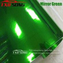 50CM * 100/200/300/400/500CM yeni boyut yüksek gerdirilebilir yeşil gümüş krom ayna esnek vinil Wrap sac rulo Film araba vinil