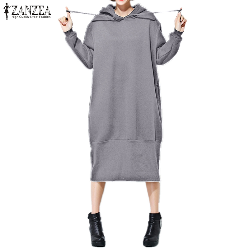 ZANZEA Women Hoodies Sweatshirts 2018 Winter Warm Hooded Dress Long Sleeve Casual Loose Long Pullover Vestidos Plus Size
