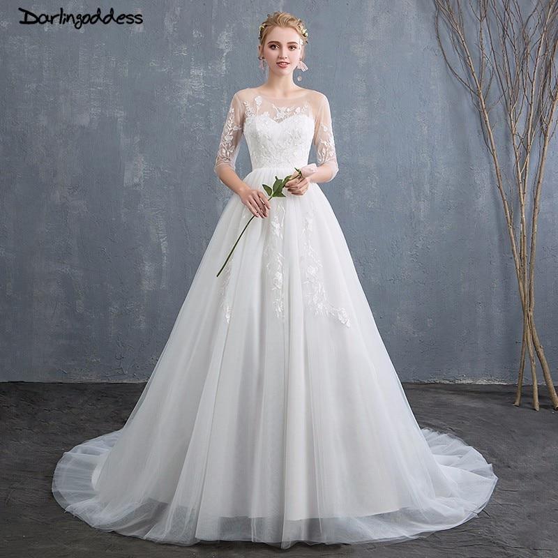 A Line White Tulle Wedding Dress 2017 Arabic Bridal: Vestido De Noiva A Line Wedding Dresses White Tulle Lace