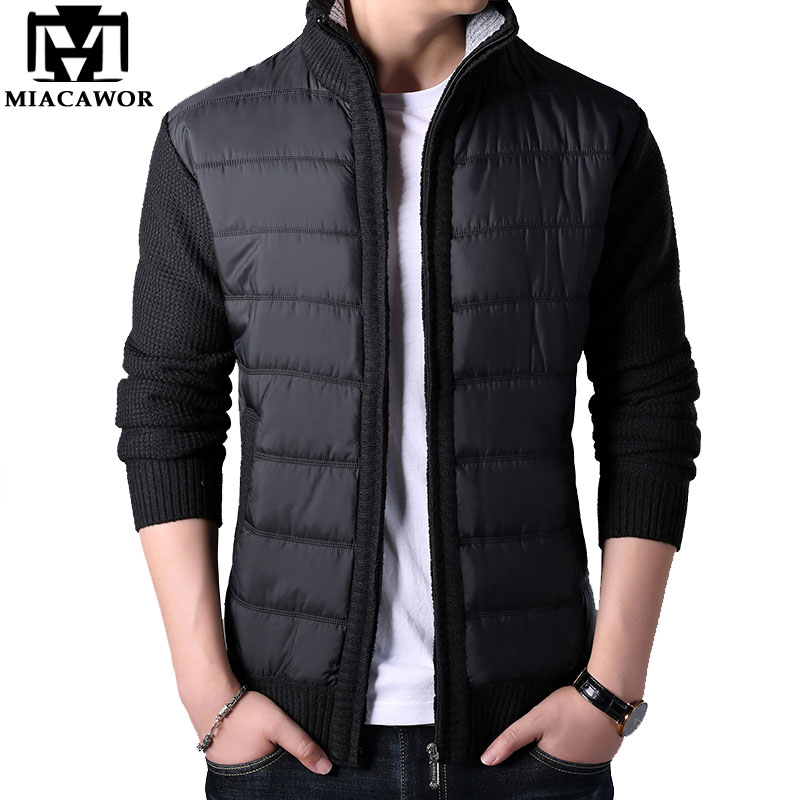 MIACAWOR Autumn Winter Wool Sweater Men Fleece Warm Sweatercoat Men Casual Patchwork Cardigan Men Sweater Coats Men Y144