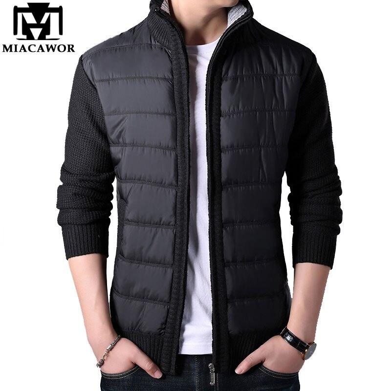 MIACAWOR Autumn Winter Wool Sweater Men Fleece Warm Sweatercoat Men Casual Patchwork Cardigan Men Sweater Coats Men Y144