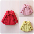 2016 girls' blends children's autumn jackets kid's double buttons blends overcoat elegant girl's woolen coats size 3-7Y