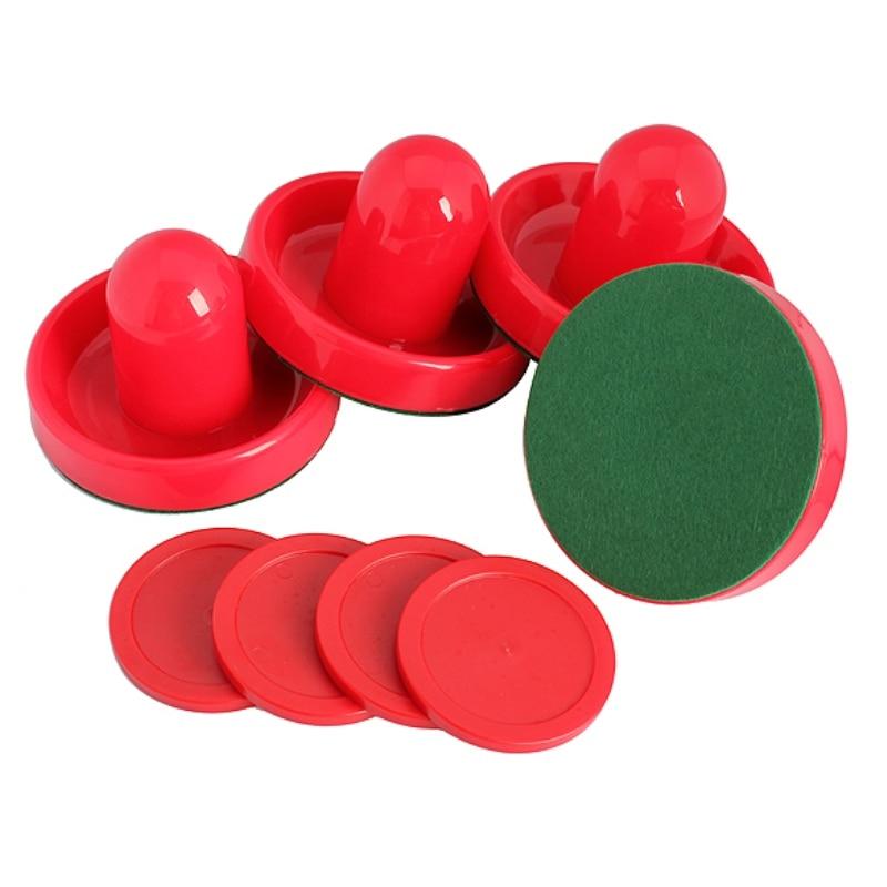 4 Pcs/ensemble Air Hockey Poussoirs et Rondelle De Hockey de L'air Air Balle de Hockey Table Gardiens avec Puck Feutre Pusher Mallet Poignée rouge
