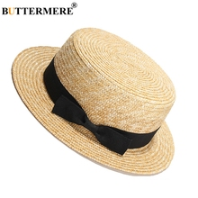 BUTTERMERE Straw Summer Hat Women Bow Black Ribbon Sun Hats Female Elegant Travel Beach 2019 Fashion Ladies Panama UV Caps