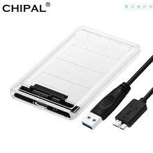 CHIPAL 5 Гбит/с 2,5 ''Прозрачный жесткий чехол SATA 3,0 USB 3,0 внешний жесткий диск SSD HDD корпус коробка Поддержка 2 ТБ протокола UASP