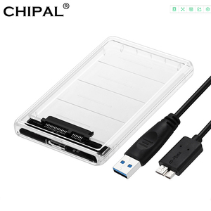 CHIPAL 5Gbps 2.5'' Transparent HDD Case SATA 3.0 to USB 3.0 External Hard Disk Drive SSD Enclosure Box Support 2TB UASP Protocol