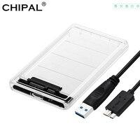 Chipal 5Gbps 2.5 ''Trasparente Caso Hdd Sata 3.0 a Usb 3.0 External Hard Disk Drive Ssd Enclosure Box supporto 2 Tb Protocollo Uasp-in Case HDD da Computer e ufficio su