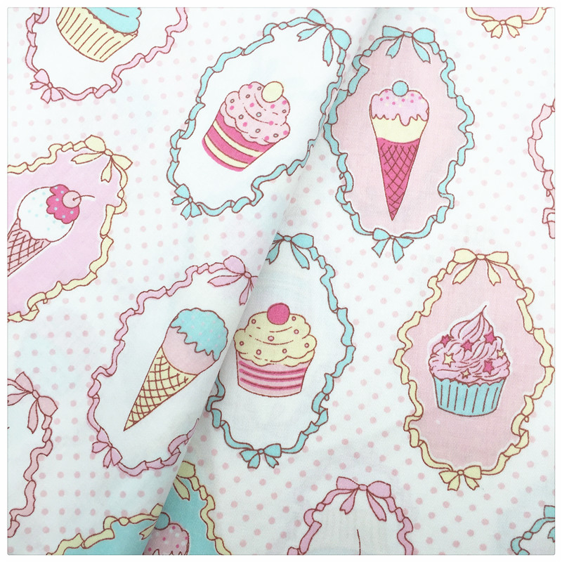 Ice Cream Printed 100% Cotton Fabric DIY Sewing Craft Patchwork the cloth Tissue for Tilda Doll Baby Cloth Bedding Textiles