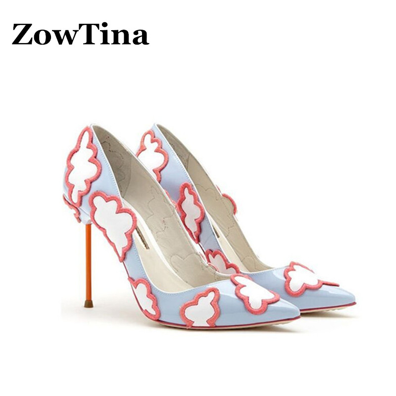 New Design Women Dress Pumps Sexy Pointed Toe Thin High Heels Wedding Shoes Woman Flaky Clouds Sapatos Femininos Large Size 42 sexy pointed toe high heels women pumps shoes new spring brand design ladies wedding shoes summer dress pumps size 35 42 302 1pa
