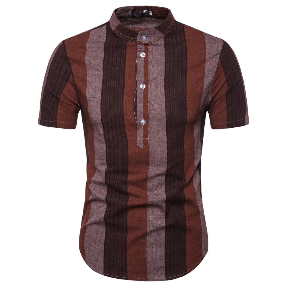 <font><b>Men's</b></font> <font><b>Short</b></font> <font><b>Sleeve</b></font> <font><b>Shirt</b></font> Fashion <font><b>Stripe</b></font> Flat Color <font><b>Men's</b></font> Stand Collar <font><b>Short</b></font> <font><b>Sleeve</b></font> <font><b>Shirt</b></font> <font><b>Men's</b></font> Slim Top 9713 image