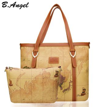 High quality 2 bags 1 set world map women bag fashion women messenger bags designer bags famous brand handbags Casual toe