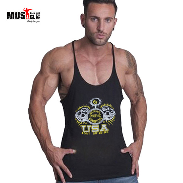 de16ad74c8c4f Mens bodybuilding clothes male vest hooded sleeveless shirt mens gymwear  sportswear cotton racerback tank top O-neck Print shirt