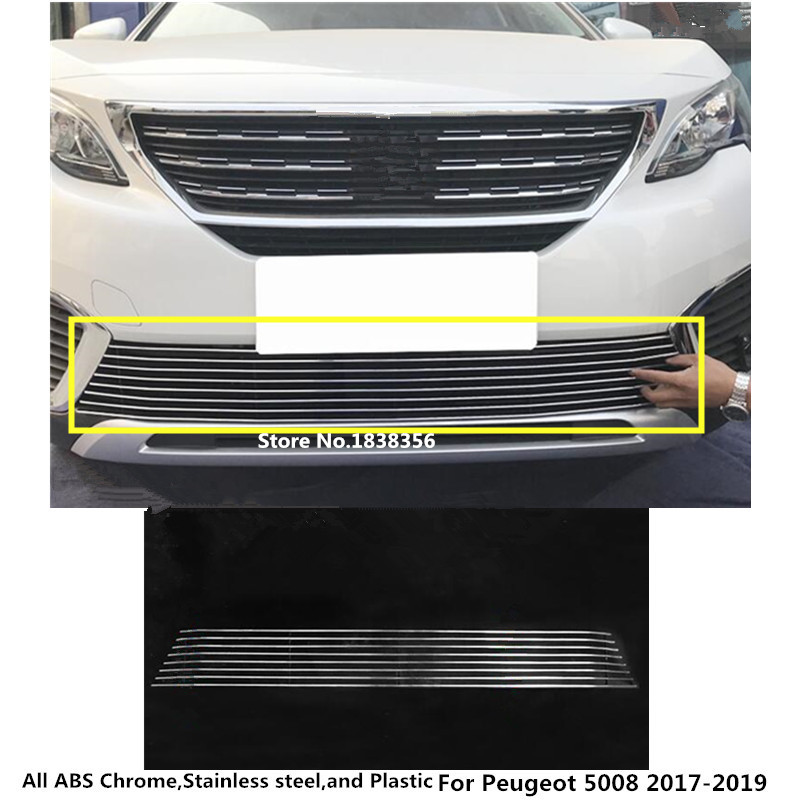 For Peugeot 5008 2017 2018 2019 detector car styling body License plate trim front up racing Grid Grill Grille hood panel frame