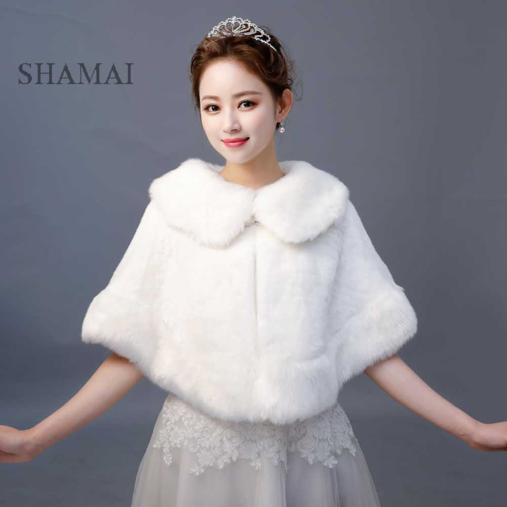 SHAMAI Ivory Faux Fur Winter Bridal Wraps Warm Fur Boleros Bridal Cape Evening Coat High Quality Wedding Jacket Bridesmaids Wrap