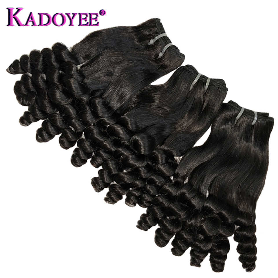 "Funmi Hair Double Drawn Hairstyle Spring Curly Bouncy Curl Human Hair Bundles For Black Women Remy Hair Weave Extension 12""-22"""