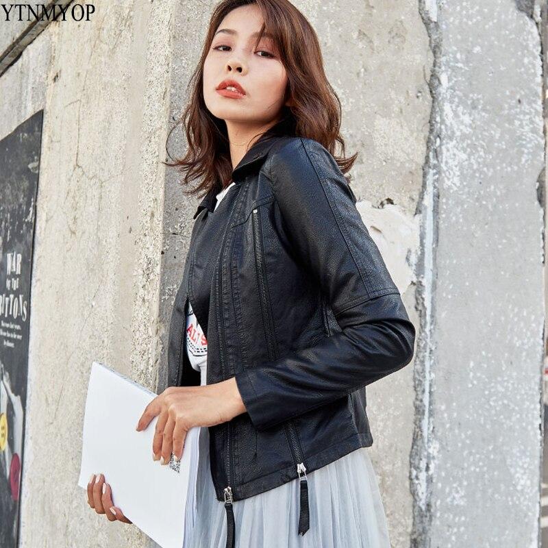 YTNMYOP Motorcycle Faux   Leather   Women   Leather   Jacket Black Slim Fashion   Leather   Clothing Base Zipper   Suede