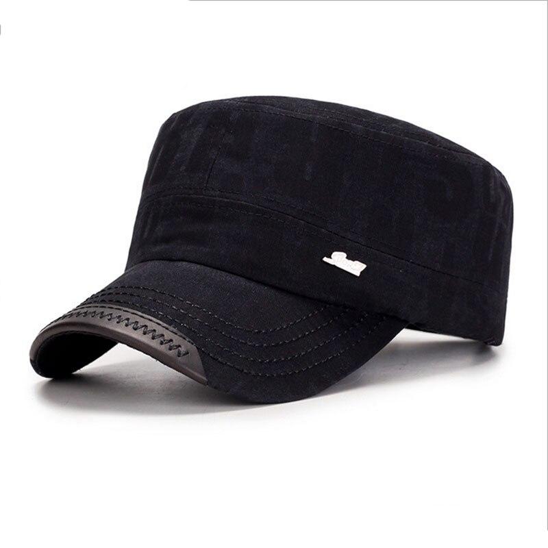 SUOGRY 100% algodón Unisex techo plano sombreros militares para hombres  gorra táctica ejército mujeres Snapback hueso marca Gorroas 5a668479577