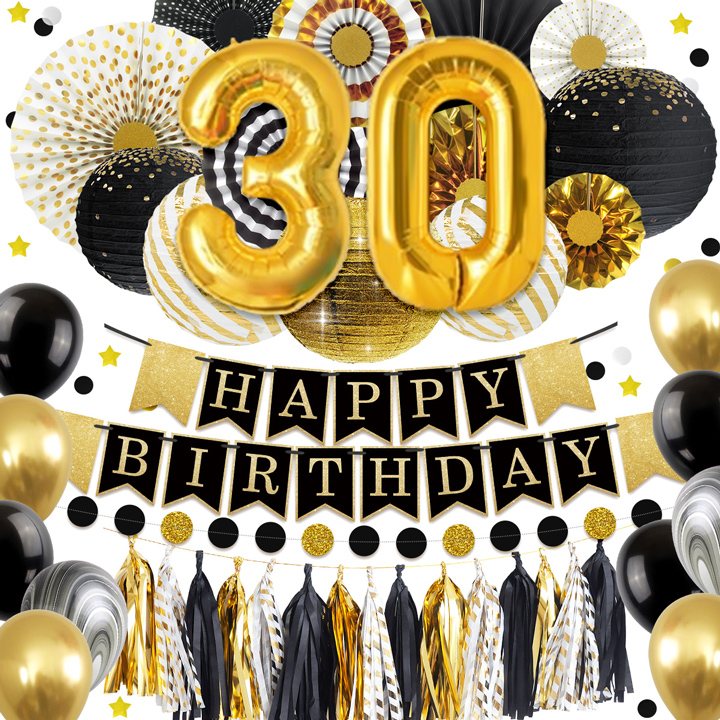 Nicro 30 40 50 60 Happy Birthday DIY Party Decoration 45 pcs set Black Gold Golden