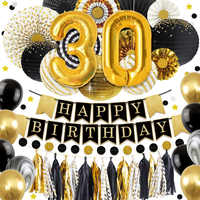 Nicro 30 40 50 60 Happy Birthday DIY Party Decoration 45 pcs/set Black Gold Golden Paper Supplies  Home Decor New #Set89