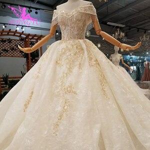 Image 1 - AIJINGYU Muçulmano Véu Simples Laço Branco E Tule vestido de Casamento Plus Size Com Real Medieval Belos Vestidos De Casamento Vestidos Com Mangas