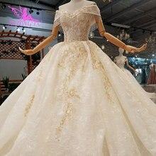 AIJINGYU มุสลิมผ้าคลุมหน้าสีขาวเรียบง่ายลูกไม้และ Tulle Plus ขนาด Royal ยุคกลางสวยงานแต่งงานชุดเดรสแขน