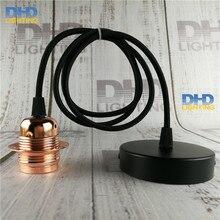 Бесплатная доставка E27 Эдисон лампы светильник меди Глянцевая готовой Сплава керамическое гнездо Алюминиевый держатель лампы с кабелем и навес