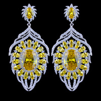 5 Color Option Luxury Yellow Zircon Dangle Earrings For Women High Quality White Gold Plated Party