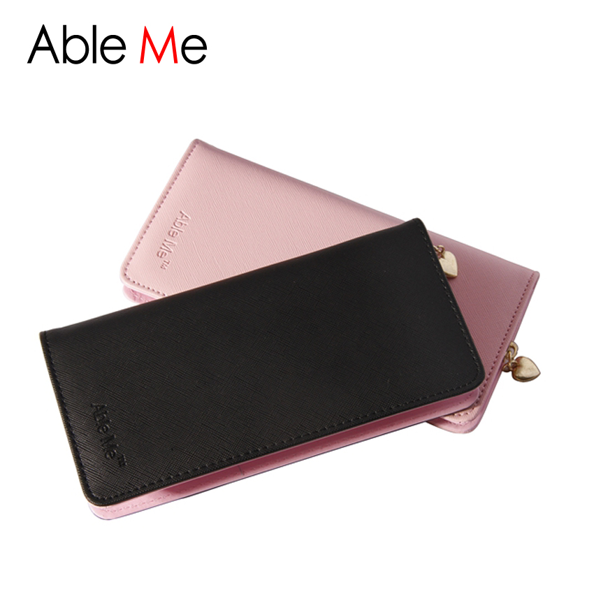 2016 AbleMe Dollar Price Purse Famous Brand PU Leather Wallet Women Purse Money Card Holder Sweetheart Zip Ladies Wallet Female