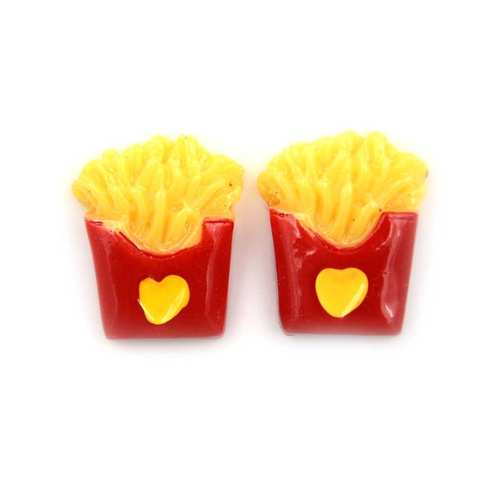 2ピースカワイイ売春樹脂カボションシミュレーション食品フライドポテト樹脂チップ用ドールハウスミニチュア装飾diy食品おもちゃ