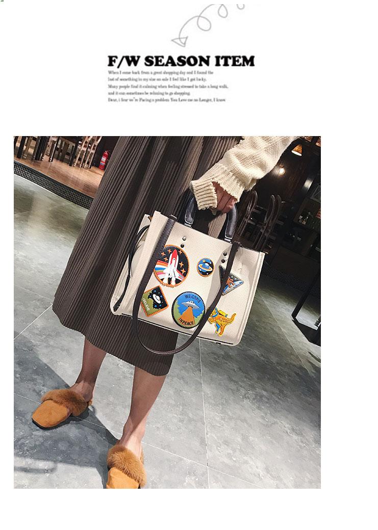 Women Rocket Space Tote Bag Pu Leather Handbag 2018 Autumn And Winter Black Blue Badge Lady Hand Bag Casual Single Shoulder Bag 11