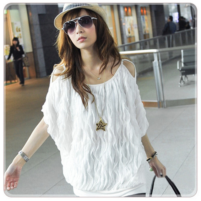 Fashion Women Off Shoulder Wave Batwing Tops Long Blouse Cotton Blends 2 Colors#5125